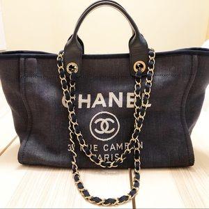 CHANEL GST DEAUVILLE dark denim handbag tote
